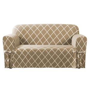 Sure Fit Lattice Loveseat Cover - 73-in x 37-in - Tan