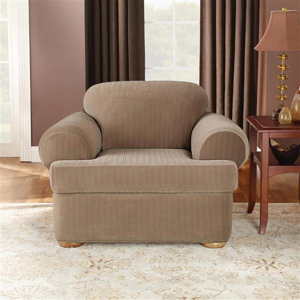 Sure Fit Stretch Pinstripe Chair Cover - 48-in x 37-in - Taupe