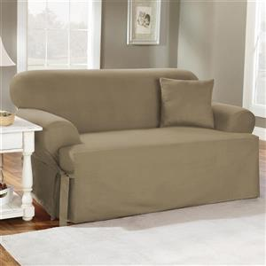 Sure Fit Duck Solid Loveseat Cover - 96-in x 37-in - Linen