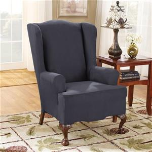 Sure Fit Stretch Suede Wing Chair - 29-in x 42-in - Storm Blue