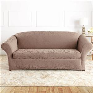 Sure Fit Jacquard Damask Sofa Cover - 96-in x 37-in - Mushroom