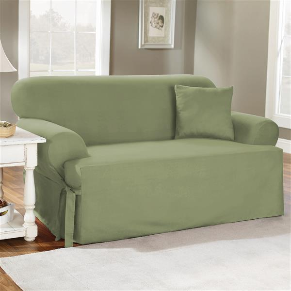 Sure Fit Duck Solid Sofa Cover - 96-in x 37-in - Sage