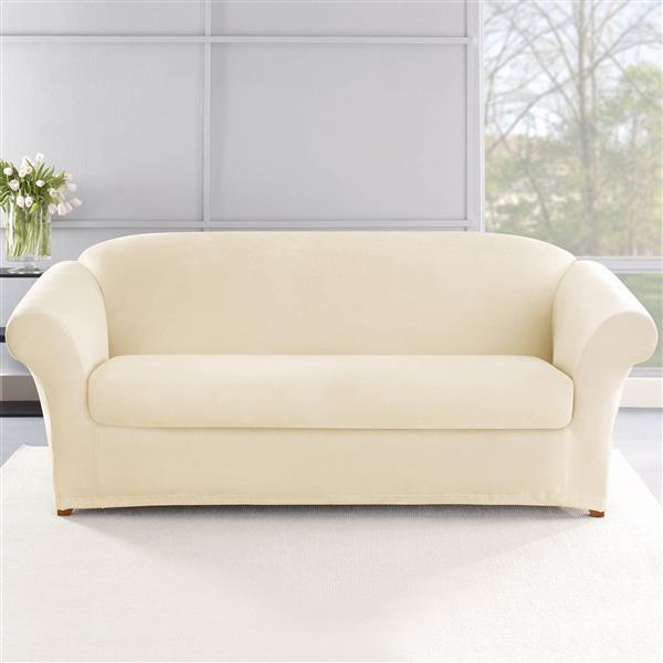 Sure Fit Stretch Plush Sofa Cover - 96-in x 37-in - Cream
