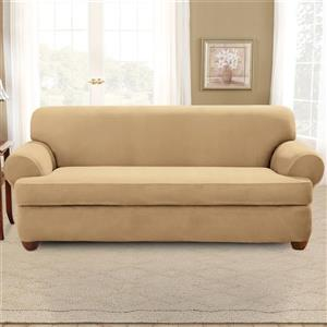 Sure Fit Stretch Suede Sofa Cover - 96-in x 37-in - Camel