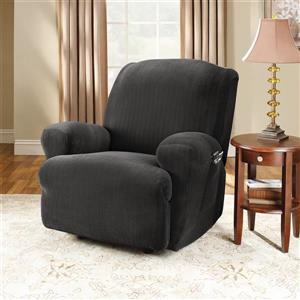 Sure Fit Stretch Pinstripe Recliner Cover - 30-in x 40-in - Black