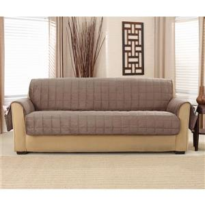 Sure Fit Deep Pile Velvet Sofa Cover - 93-in x 37-in - Sable