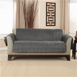 Sure Fit Deep Pile Velvet Loveseat Cover - 73-in x 37-in - Carbon Grey