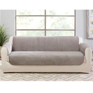 Sure Fit Elegant Pick Stitch Sofa Cover - 96-in x 37-in - Silver