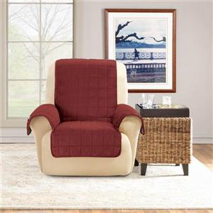 Sure Fit Deep Pile Velvet Recliner Cover - 30-in x 40-in - Burgundy