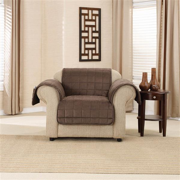 Sure Fit Deep Pile Velvet Armchair Cover - 48-in x 37-in - Chocolate