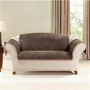 Sure Fit Vintage Leather Loveseat Cover - 73-in x 37-in - Brown