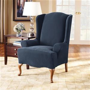 Sure Fit Stretch Pique Wing Chair Cover - 29-in x 42-in - Navy