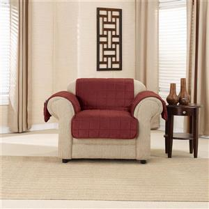 Sure Fit Deep Pile Velvet Armchair Cover - 48-in x 37-in - Burgundy