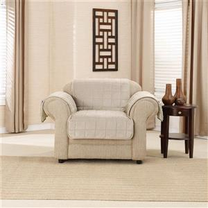 Sure Fit Deep Pile Velvet Armchair Cover - 48-in x 37-in - Cement