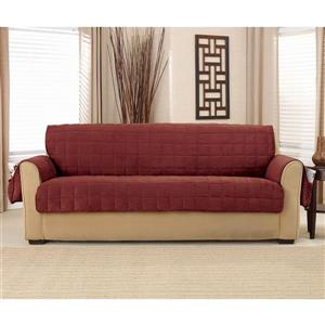 Sure Fit Deep Pile Velvet Sofa Cover -96-in x 37-in - Burgundy