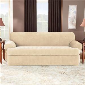 Sure Fit Stretch Pinstripe Sofa Cover - 96-in x 37-in - Cream