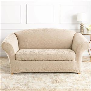 Sure Fit Jacquard Damask Loveseat Cover - 73-in x 37-in - Oyster