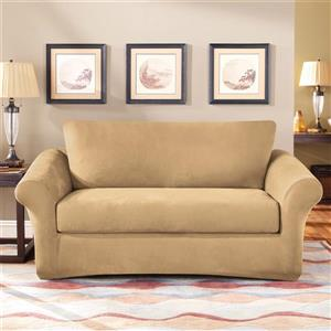 Sure Fit Stretch Suede Loveseat Cover - 73-in x 37-in - Camel