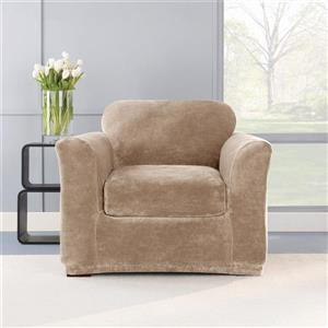 Sure Fit Stretch Plush Chair Cover - 48-in x 37-in - Sable