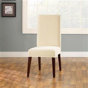 Sure Fit Stretch Pinstripe Dining Chair Cover - 18.5-in x 42-in - Cream