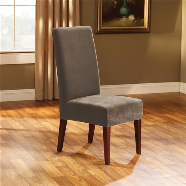 Sure Fit Stretch Pique Dining Chair Cover - 18.5-in x 42-in - Taupe