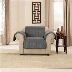 Sure Fit Deep Pile Velvet Armchair Cover - 48-in x 37-in - Carbon Grey
