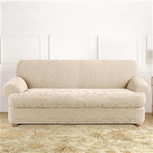 Sure Fit Jacquard Damask Sofa Cover - 96-in x 37-in - Oyster