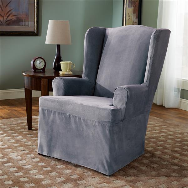 Sure Fit Soft Suede Wing Chair Cover - 29-in x 42-in - Smoke Blue