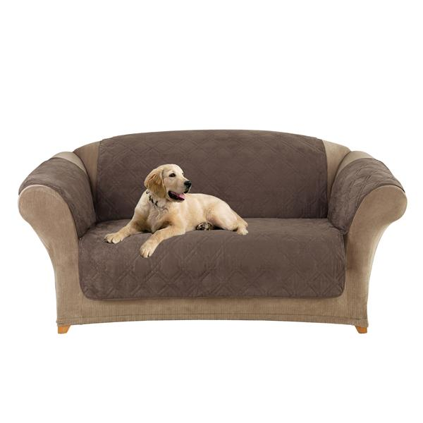 Sure Fit Microfiber Pet Loveseat Cover - 73-in x 37-in - Chocolate