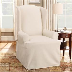 Sure Fit Duck Solid Wing Chair Cover - 29-in x 42-in - Natural