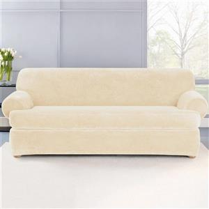 Sure Fit Stretch Plush Sofa Cover - 96-in x 37-in - Cream