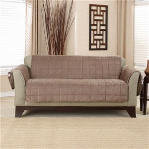 Sure Fit Deep Pile Velvet Loveseat Cover - 73-in x 37-in - Sable