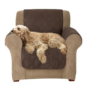 Sure Fit Microfiber Pet Armchair Cover - 48-in x 37-in - Chocolate