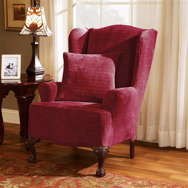 Sure Fit Royal Diamond Wing Chair Cover - 29-in x 42-in - Wine