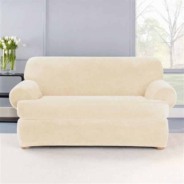 Sure Fit Stretch Plush Loveseat Cover - 73-in x 37-in - Cream