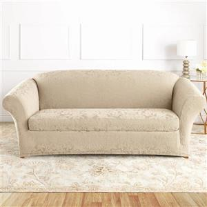 Sure Fit Jacquard Damask Sofa Cover - 96-in x 37-in - Oyester