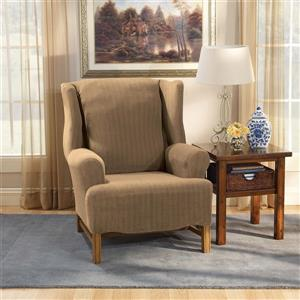 Sure Fit Stretch Pinstripe Wing Chair Cover - 29-in x 42-in - Taupe
