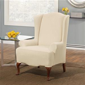 Sure Fit Stretch Pinstripe Wing Chair Cover - 29-in x 42-in - Cream