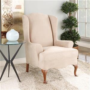 Sure Fit Stretch Suede Wing Chair Cover - 29-in x 42-in - Oatmeal