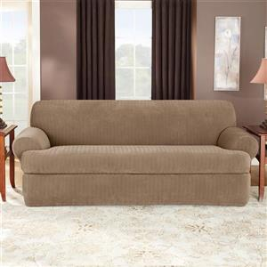 Sure Fit Stretch Pinstripe Sofa Cover - 96-in x 37-in - Taupe