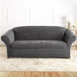 Sure Fit Jacquard Damask Sofa Cover - 96-in x 37-in - Grey