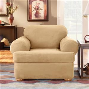 Sure Fit Stretch Suede Chair Cover - 48-in x 37-in - Camel