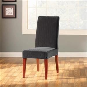 Sure Fit Stretch Pinstripe Dining Chair Cover - 18.5-in x 42-in - Black