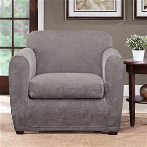 Sure Fit Ultimate Chenille Chair Cover - 48-in x 37-in - Grey