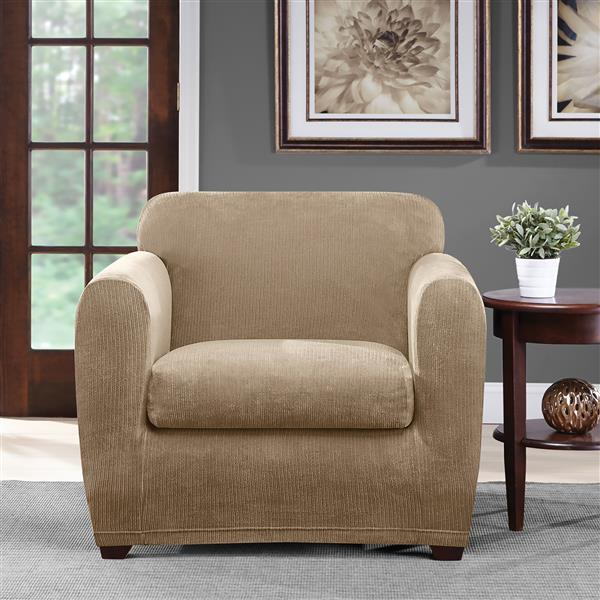 Sure Fit Ultimate Chenille Chair Cover - 48-in x 37-in - Tan