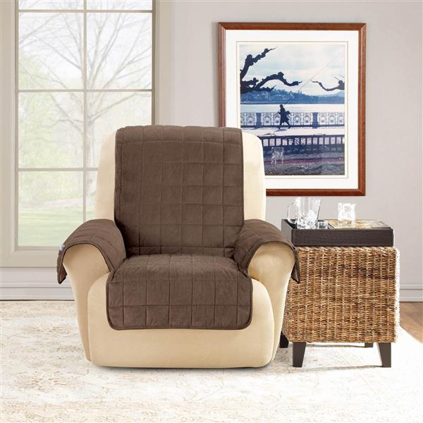 Sure Fit Deep Pile Velvet Recliner Cover - 30-in x 40-in - Chocolate