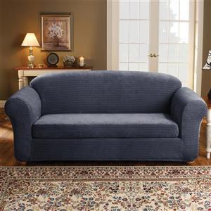 Sure Fit Royal Diamond Sofa Cover - 96-in x 37-in - Storm Blue