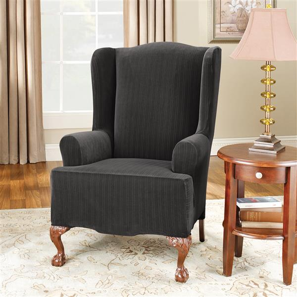 Sure Fit Stretch Pinstripe Wing Chair Cover - 29-in x 42-in - Black