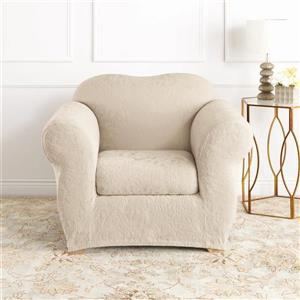 Sure Fit Jacquard Damask Chair Cover - 48-in x 37-in - Oyster