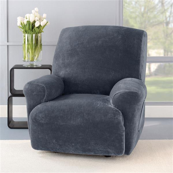 Sure Fit Stretch Plush Recliner Cover - 30-in x 40-in - Storm Blue